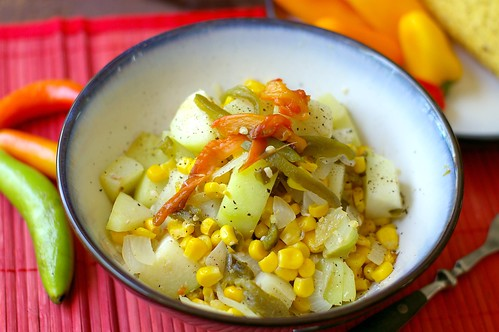 Chayote, chili and corn