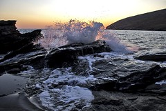 High seas coming (n.pantazis) Tags: sea summer sky sun pool rock sunrise rocks waves wave foam splash andros splashing pentaxkx roughsea aegeansea korthi korthibay