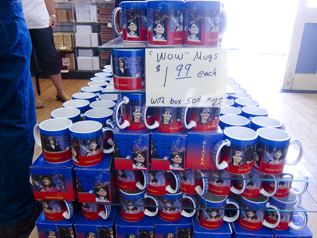 Mugs, in The Sarah Palin Store in Skagway Alaska