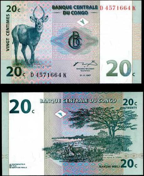 20 Centimes Congo 1997, Pick 83