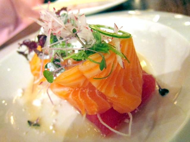 Salmon Sashimi with Spring Melon