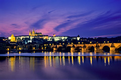 Prague (Andras Jancsik) Tags: sunset panorama evening cityscape prague praha czechrepublic bluehour charlesbridge vltava praguecastle