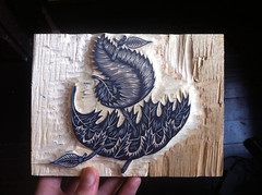 """Leaf Boat"" key block carved! (Tugboat Printshop) Tags: printmaking blockprint woodcut woodblock reliefprint lifeofleisure woodcutart paulroden tugboatprintshop woodblockart traditionalprintmaking valerielueth colorwoodcut colorwoodblock pittsburghartists pittsburghprintmakers tugboatprintshoppittsburgh lifeofleisureseries tugboatprints lifeofleisurewoodcuts leafboatwoodcut woodcarvingleafboat leafboatprint leafboatart"