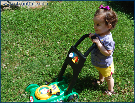 Mowing the lawn has never looked happier.