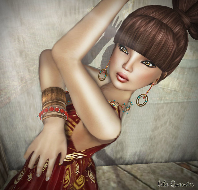 Finesmith Designs Wild earrings, necklace & Bangle and LOQ Hairs - Con Panna - caramel