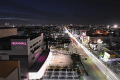 Nagoya night cityscape (Shin-Nagoya) Tags: longexposure japan lowlight asia nagoya nightview nightphoto aichi afterdark gettyimages citynight lighttrail lightstream urbannight nightimage localstreet carlighttrail nightcityscape pcnikkor28mmf35