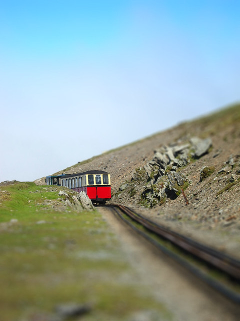 Snowdon train at the top (tiltshifted)