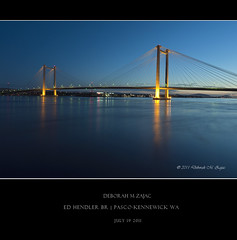Ed Hendler Bridge (CircadianReflections Photography) Tags: longexposure twilight nikon nightshot roadtrip columbiariver span cablebridge washinton edhendlerbridge cs5 nikkor1735 sandiskultraiidigitalfilm pascokennewickwa