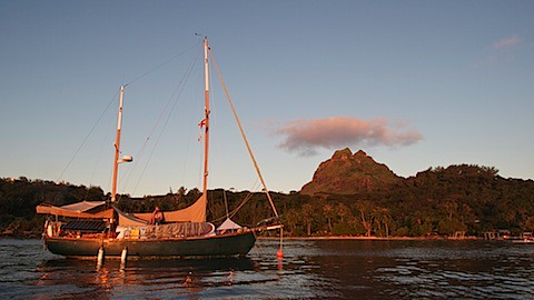 Architeuthis moored at the Bora Bora yacht club.
