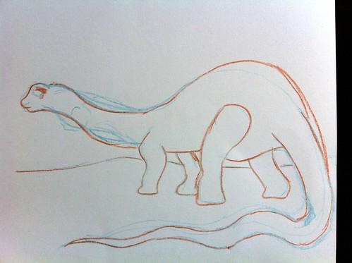 Apatosaurus refining sketch
