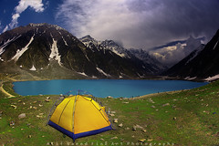 Lake of Fairies (M Atif Saeed) Tags: camping pakistan mountain lake mountains nature water clouds landscape tent kaghan bluelake tenting naran dometent saifulmalook yellowcamp atifsaeed