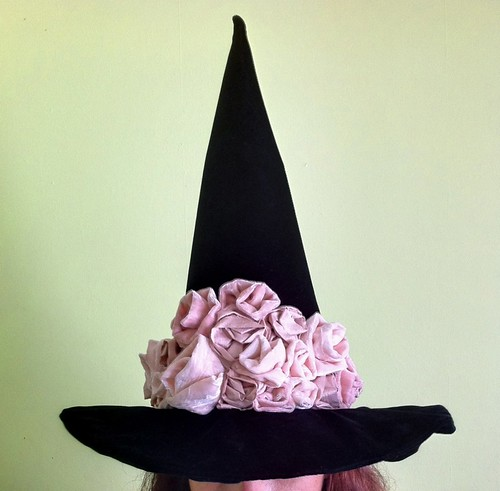 Pink on Black Witch Hat