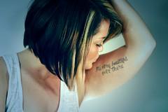 Kiss (/\/\EG) Tags: white black color girl look tattoo hair kiss tank angle arm cut teal bob style highlights blonde brunette dye asymmetrical stylist