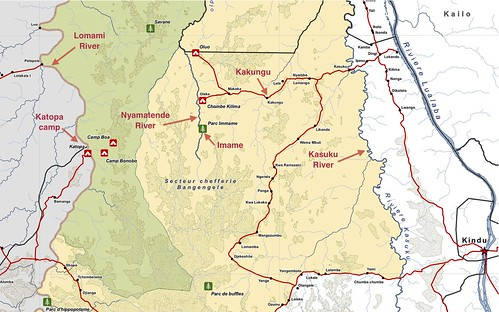 Key points along Matt's route from Kindu to Katopa camp