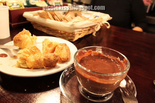 croissant and super thick chocolate drink