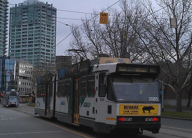 Tram speed restrictions on St Kilda Road