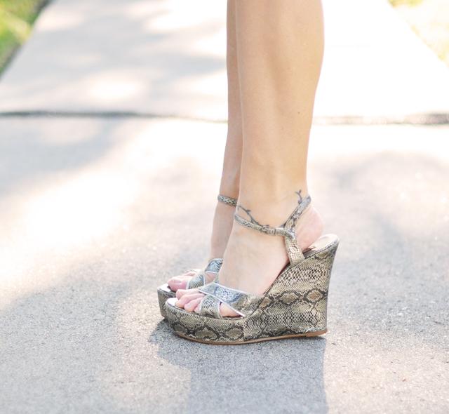 silver snakeskin platform wedge sandals