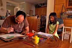 Sunday: dad & daughter art time