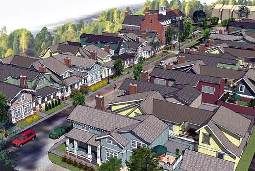 aerial rendering of SchoolStreet Homes as conceived (via SchoolStreetLibertyville.com)