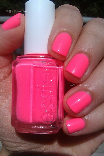 Punchy  Literally  Like something J-Woww and Sammi would wear to a    Neon Pink Nail Polish Essie