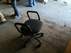 Lonely broken office chair in VAB