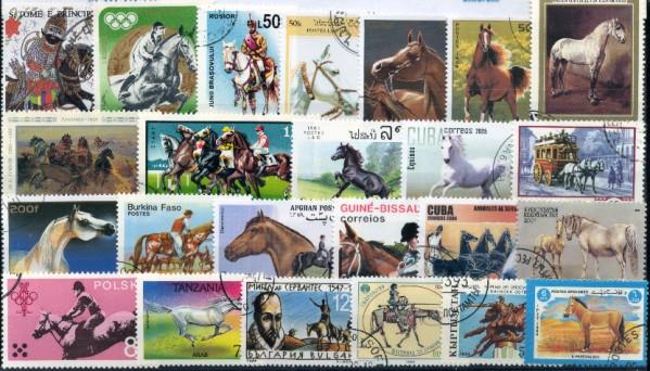 Známky - 100 rôznych, kone
