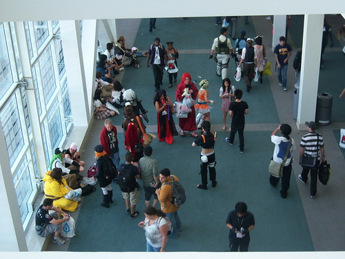 Cosplayers, photo taken from the second floor looking down