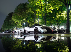 Supercars Reflection ([ JR ]) Tags: white paris reflection car night canon eos hotel ama