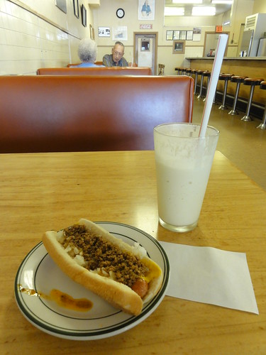 Chili dog and vanilla milkshake
