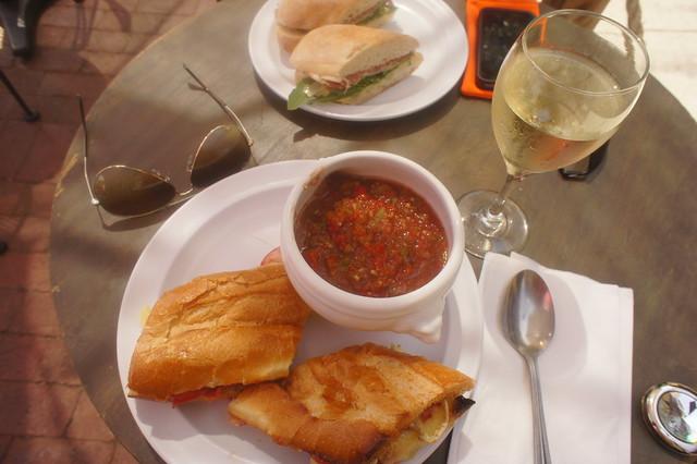 mushroom/brie panini + gazpacho + sancerre