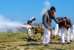 Fire in the hole (BCMTJCAC) Tags: al confederate cannon marines civilwarreenactors fortgaines daupinisland 62hot