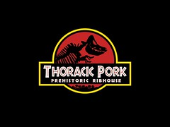 Thoracic Pork (samhilldesign) Tags: silhouette logo skeleton pig pork ribs thoracic jurassicpark ribhouse
