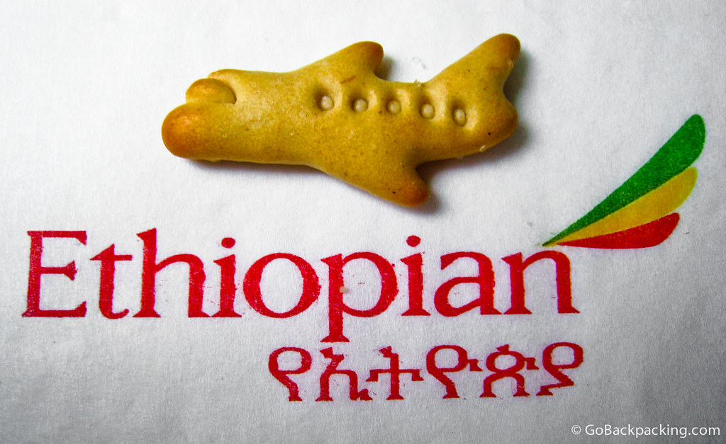 Snack time on Ethiopian Airlines