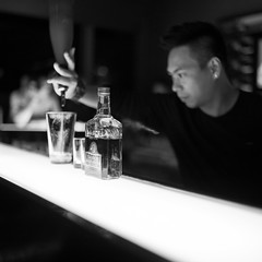 Patrick @ Sugar, East Hotel Hong Kong (Explored Aug 11, 2011) (terencehonin) Tags: leica white black bar 35mm hongkong hotel shot drink bokeh voigtlander voigtlaender patrick east explore drinks bartender nokton voigtlnder f12 m9 easthotel explored m9p