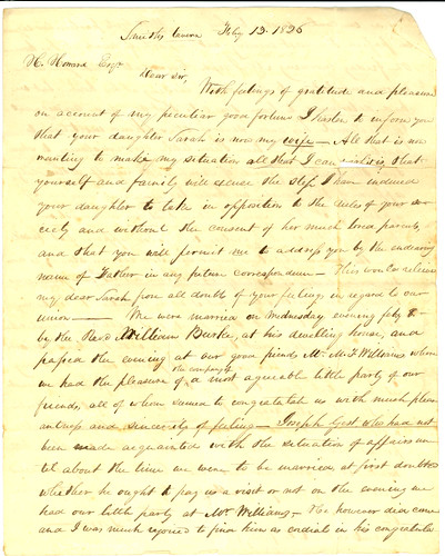 Letter from Samuel Forrer to Horton Howard, Feb. 13, 1826, Page 1 of 2