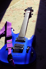 Out of Time (Yellow 01) Tags: blue rock electric metal canon 50mm purple guitar f14 ups strap strings setup pick schecter shred