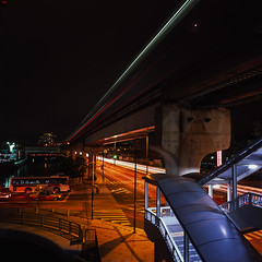 light speed (Akira ASKR) Tags: longexposure station night fuji hasselblad okinawa monorail  naha provia provia100f  hasselblad500cm   rdpiii  asahimachi   distagoncf50mmfle asahibashistation