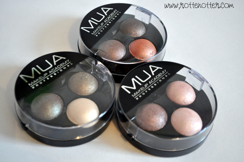 MUA professional eyeshadow trio chocolate box pink sorbet innocence