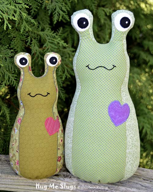 Two-tone cotton Hug Me Slugs, art toys by Elizabeth Ruffing