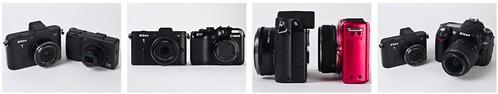 Side-by-side size comparison – Nikon V1 vs Ricoh GR DIGITAL II, Canon G11, Panasonic GF2 plus LUMIX G 14mm f/2.5 ASPH., Nikon D90 plus Nikkor 18-55mm AF-S II kit lens