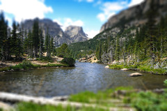 Loch Lake in Tilt-Shift (Julie Rideout) Tags: nikon rockymountainnationalpark tiltshift theloch lochlake d7000 julierideout