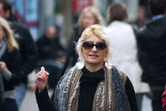 In Galway (Frank Fullard) Tags: street ireland portrait galway wool smile candid shades tourist blonde earrings visitor scarfe fullard frankfullard
