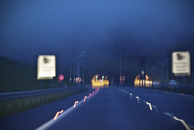 Approaching recently opened Hindhead Tunnel on A3 - Still in the dark...and Blurrrrr