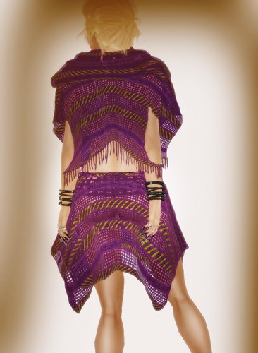 [Coming Soon] A&A Fashion Poncho Skirt Set Violet Lime