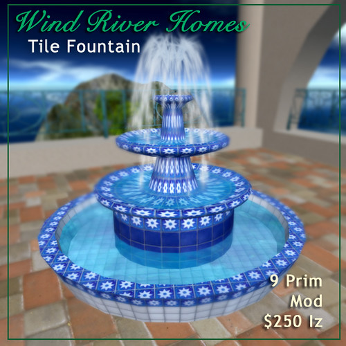 Blue and White Tile Fountain by Teal Freenote