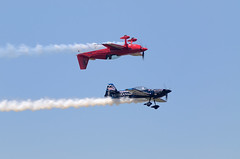 """Dropping In to Say """"Hello"""" (CliffMuller) Tags: red danger airplane airport bue aircraft smoke cockpit bluesky airshow acrobat canopy inverted stunt aerobatic 70300mmf456 nikond7000"""
