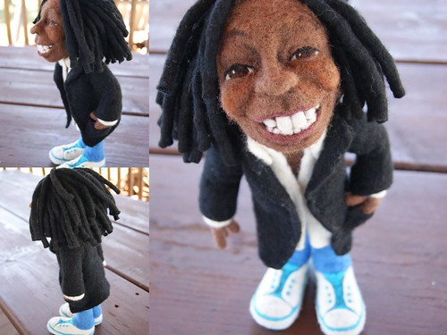 Li'l Whoopi - Needle Felted Wool Doll by feltalive