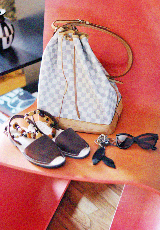 Oto chair  +  louis vuitton damier  azur noe + sandals from spain + cat eye sunglasses
