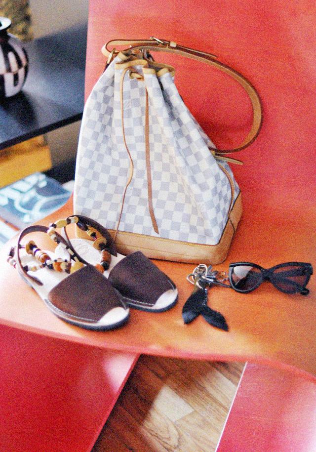Oto chair  +  louis vuitton damier  azur noe + sandals from spain + cat eye sunglasses
