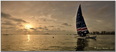 SUNSET SAILING (Eduardo Mascagni) Tags: light sunset sea summer sky panorama espaa color luz beach water clouds canon contraluz landscape eos mar spain agua barca estate horizon playa paisaje colores murcia cielo nubes verano paesaggio lamangadelmarmenor spagna horizonte backlighting reflejos reflects orizzonte panormica mascagni 2011 40d mygearandme mygearandmepremium eduardomascagni